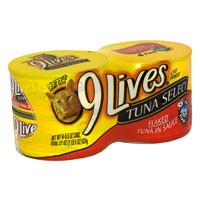 9 Lives Wet Cat Food Select Flaked Tuna 4PK of 5.5oz Cans 22oz PKG product image