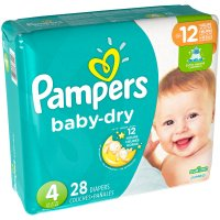 Pampers Baby Dry Size 4 (22-37LB) Jumbo Pack 28CT PKG product image