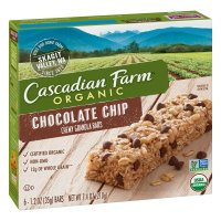 Cascadian Farm Organic Chewy Granola Bars Dark Choc Chip 6CT 7.4oz Box product image