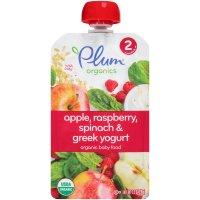 Plum Organics Baby Food Stage 2 Apple, Raspberry, Spinach & Greek Yogurt 4oz Pouch product image