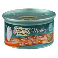 Fancy Feast Elegant Medleys Shredded White Meat Chicken Fare with Garden Greens 1CT 3oz Can product image