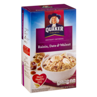 Quaker Instant Oatmeal Raisin Date & Walnut 10PK 13oz Box product image