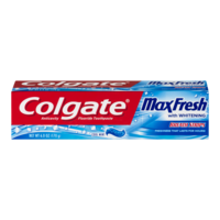 Colgate Max Fresh With Whitening Mini Breath Strips Cool Mint Toothpaste 6oz PKG product image