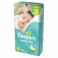 Pampers Baby Dry Size 1 (8-14LB) Jumbo 44CT PKG product image