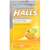 Halls Sugar Free Cough Suppressant Drops Citrus Blend 25CT PKG product image