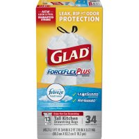 Glad Drawstring ForceFlex Plus Febreze Fresh Clean Tall Kitchen Bags 13 Gallon 34CT product image