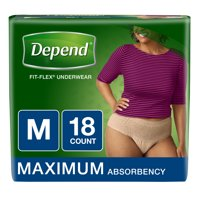 Depend Fit Flex Underwear Maximum Absorbency Medium 18CT PKG product image