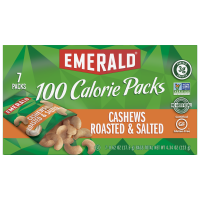 Emerald 100 Calorie Packs Roasted & Salted Cashew Halves & Pieces 7Pack Box 4.34oz product image