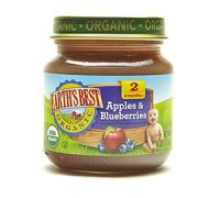 Earth's Best Organic Baby Food 2nd Apples and Blueberries 4oz. Jar product image