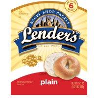 Lender's Premium Refrigerated Bagels Plain 6CT 17.1oz Bag product image