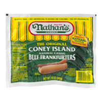 Nathan's Original Coney Island Beef Franks Natural Casing 5CT Hot Dogs 10oz PKG product image