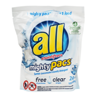 All Mighty Pacs 4x Concentrated Laundry Detergent Free & Clear 22 Pack product image