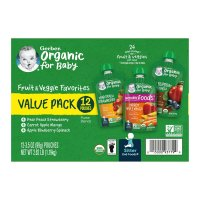 Gerber 2nd Organic Fruit & Veggie Pouches Variety Pk 12CT 31.5oz Box product image