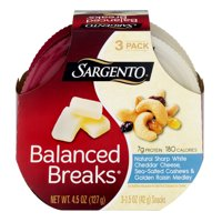Sargento Balanced Breaks Natural Sharp White Cheddar Cheese, Sea Salted Cashews & Golden Raisin Medley - 3 CT product image