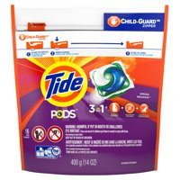 Tide Pods Spring Meadow Detergent + Stain Remover + Brightener  16CT 14oz product image