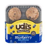 Udi's Gluten Free Muffins Blueberry 4PK 12oz (Frozen) product image