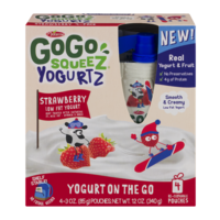 Materne GoGo Squeez Yogurtz Strawberry Yogurt On The Go 3oz Pouch 4PK product image