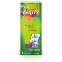 Zyrtec 24 Hr Children's Allergy Relief Syrup, Grape Flavor, 4 fl. Oz product image