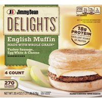 Jimmy Dean Delights® Turkey Sausage, Egg White & Cheese English Muffin Sandwiches, 4 Count (Frozen) product image