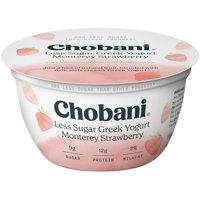 Chobani Less Sugar Greek Yogurt, Monterey Strawberry 5.3oz product image