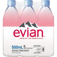 evian Natural Spring Water, .5 L bottles, 6 pack product image