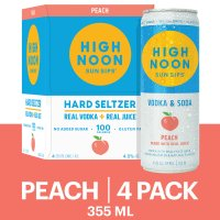 High Noon Peach Vodka Hard Seltzer 4pk 355ml Cans product image
