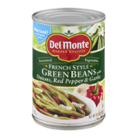 Del Monte French Style Green Beans with Onions, Red Pepper & Garlic 14.5oz Can product image