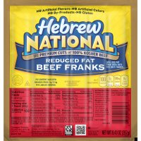Hebrew National Beef Franks Reduced Fat 6CT 9.43oz PKG product image
