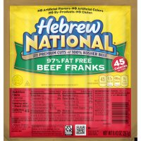 Hebrew National Franks Beef Skinless 97% Fat Free 6CT 9.43oz PKG product image